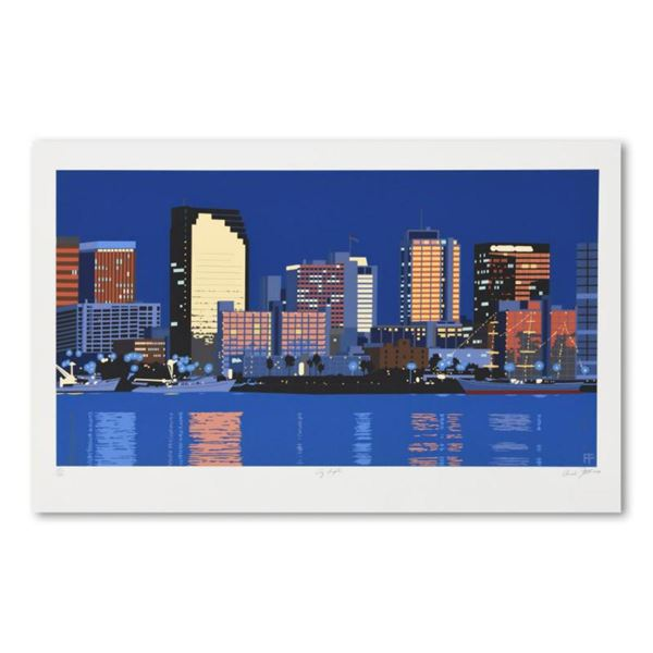 """Armond Fields (1930-2008), """"City Lights"""" Limited Edition Hand Pulled Original Serigraph, Numbered an"""