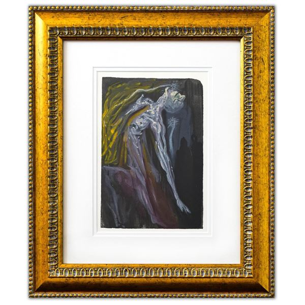 "Salvador Dali- Original Color Woodcut on B.F.K. Rives Paper ""Inferno 9"""