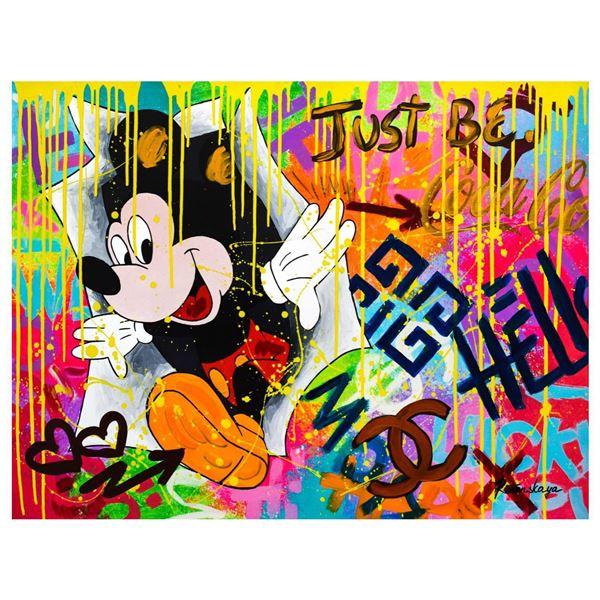 "Nastya Rovenskaya- Mixed Media ""Surprise by Mickey Mouse"""
