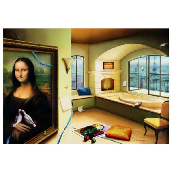 """Orlando Quevedo, """"Mona Lisa"""" Limited Edition on Canvas, Numbered and Hand Signed with Certificate of"""