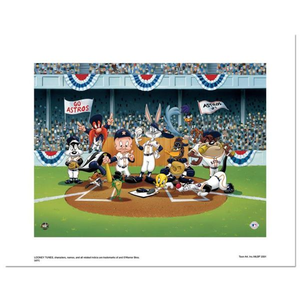 """""""Line Up At The Plate (Astros)"""" is a Limited Edition Giclee from Warner Brothers with Hologram Seal"""