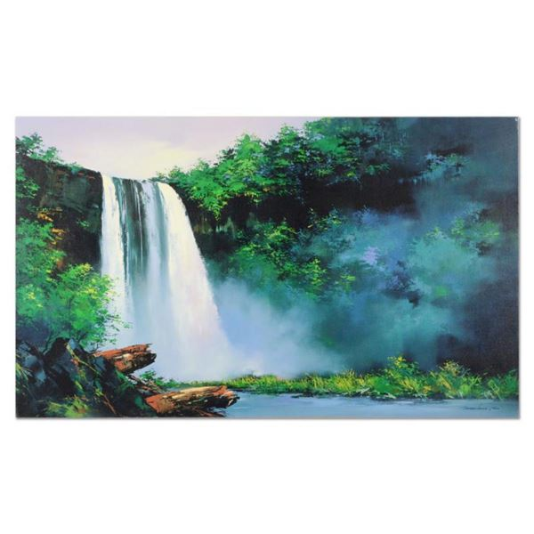 """Thomas Leung, """"Wailua Falls"""" Hand Embellished Limited Edition on Canvas, Numbered and Hand Signed wi"""