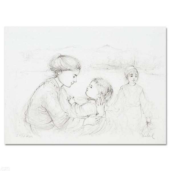 """""""Playful Mother and Baby"""" Limited Edition Lithograph by Edna Hibel (1917-2014), Numbered and Hand Si"""