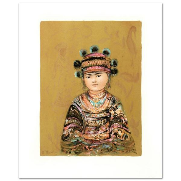 """""""Hill Tribe Youth"""" Limited Edition Lithograph by Edna Hibel (1917-2014), Numbered and Hand Signed wi"""