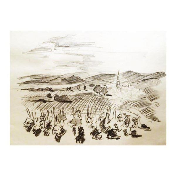 """Wayne Ensrud """"Vineyards Near Fleurie, Beaujolais"""" Pencil Original Artwork; Hand Signed; COA"""