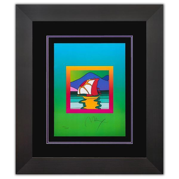 """Peter Max- Original Lithograph """"Sailboat East on Blends"""""""