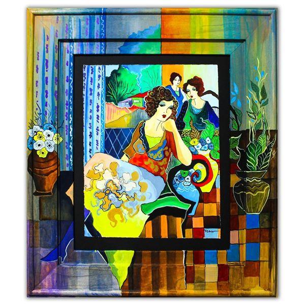 "Patricia Govezensky- Original Watercolor with Hand Painted Frame ""Violetta"""