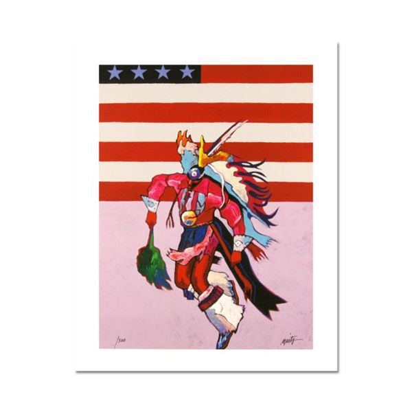 """""""Fancy Dancer with Flag"""" is a Limited Edition Giclee on Canvas by John Nieto, Numbered 1/500 and Han"""