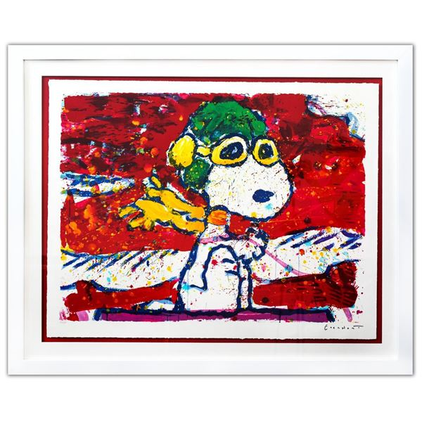 """Tom Everhart- Hand Pulled Original Lithograph """"Low Fat Meal Over Santa Monica"""""""
