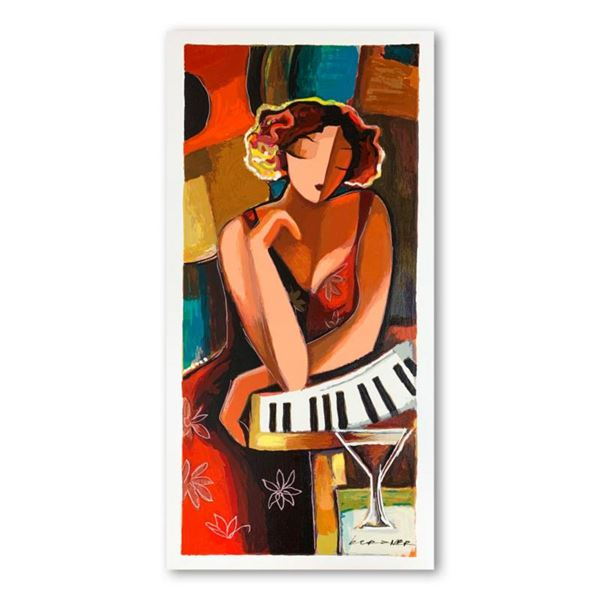 """Michael Kerzner, """"The Pianist"""" Hand Signed Limited Edition Serigraph on Paper with Letter of Authent"""