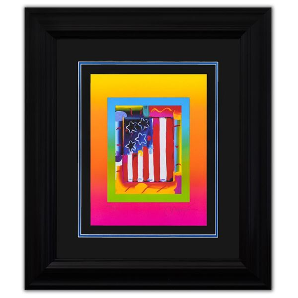 """Peter Max- Original Lithograph """"Flag with Heart on Blends III"""""""