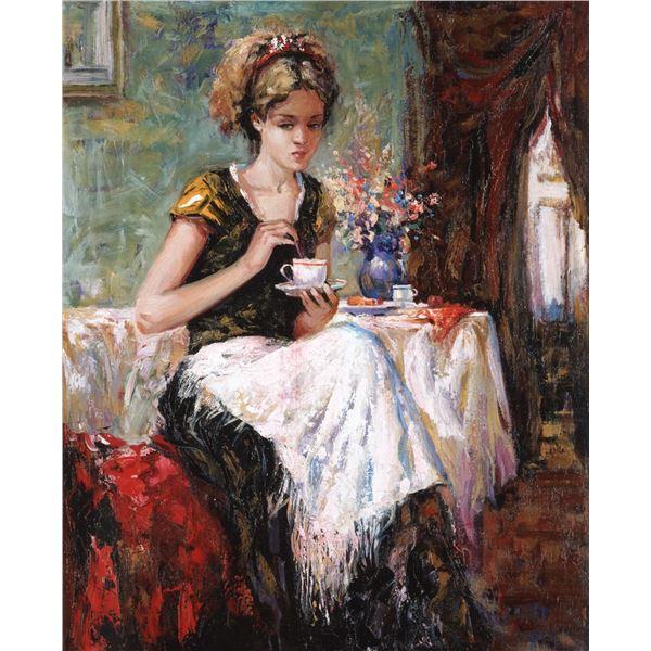 "Igor Semeko- Original Giclee on Canvas ""Cue of Tea"""