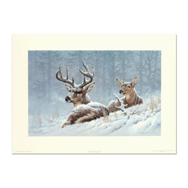 """Larry Fanning (1938-2014), """"Bedded Down - Whitetail Deer"""" Limited Edition Lithograph, Numbered and H"""