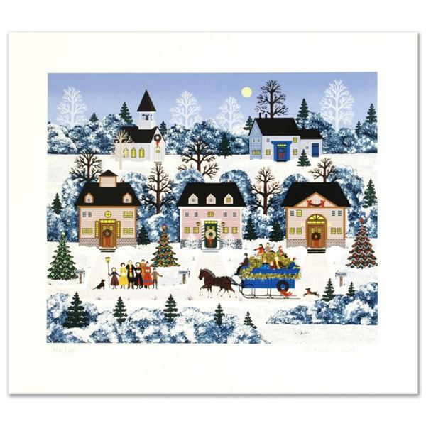 """Jane Wooster Scott, """"Holiday Sleigh Ride"""" Hand Signed Limited Edition Serigraph with Letter of Authe"""