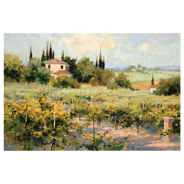 """Marilyn Simandle, """"The Vineyard"""" Limited Edition on Canvas, Numbered and Hand Signed with Letter of"""