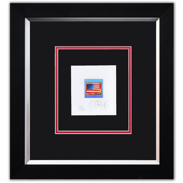 """Peter Max- Original Lithograph """"Flag with Heart on Blue"""""""