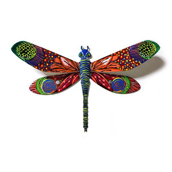 "Patricia Govezensky- Original Painting on Cutout Steel ""Dragonfly CXXVI"""
