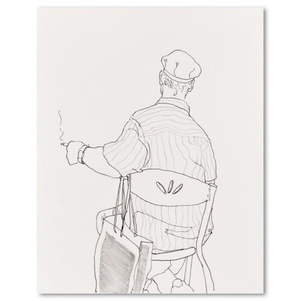 """Charles Lynn Bragg, """"Smoke Break"""" Original Ink and Pencil Drawing, Hand Signed with Letter of Authen"""