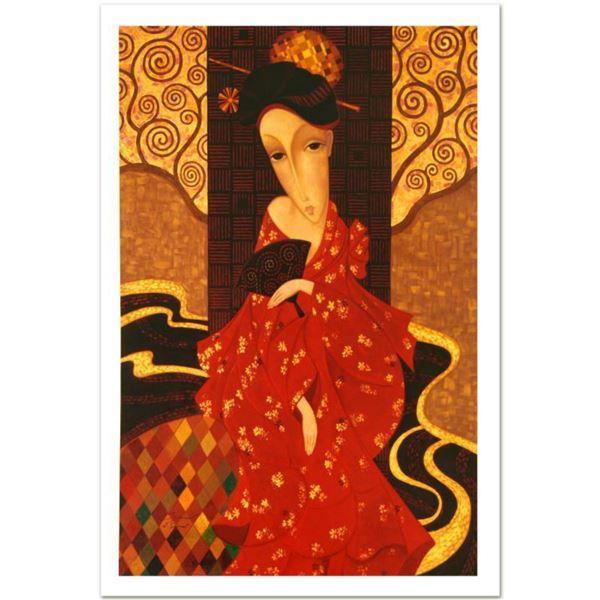 "Sergey Smirnov (1953-2006), ""Geisha In Red"" Limited Edition Mixed Media on Canvas (32.5"" x 50.5""), N"