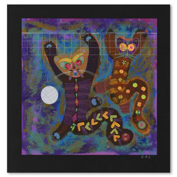 """Lu Hong, """"Kitty Camp Playmates (Black)"""" Limited Edition Serigraph, Numbered and Hand Signed with Let"""