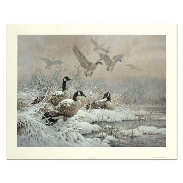 """Larry Fanning (1938-2014), """"Winter Retreat - Canada Geese"""" Limited Edition Lithograph, Numbered and"""