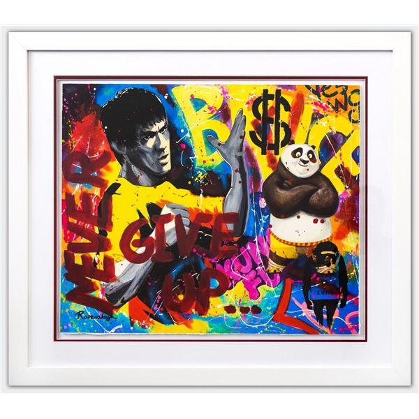 "Nastya Rovenskaya- Original Mixed Media on Paper ""Bruce Lee & Kung Fu Panda"""