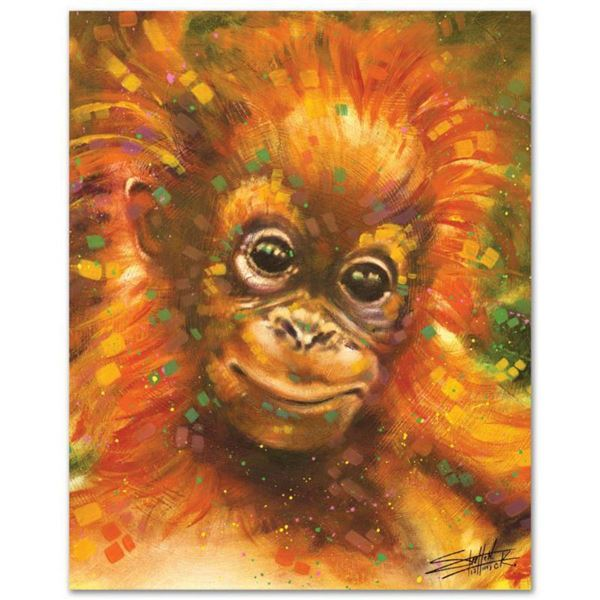 """""""Baby Orangutan"""" Limited Edition Giclee on Canvas by Stephen Fishwick, Numbered and Signed. This pie"""