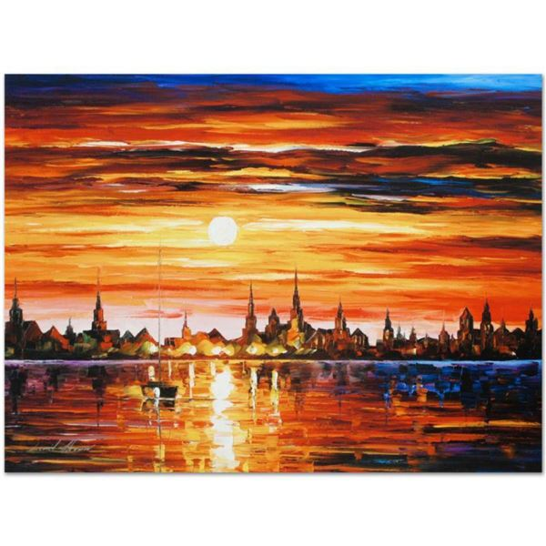 """Leonid Afremov (1955-2019) """"Sunset in Barcelona"""" Limited Edition Giclee on Canvas, Numbered and Sign"""