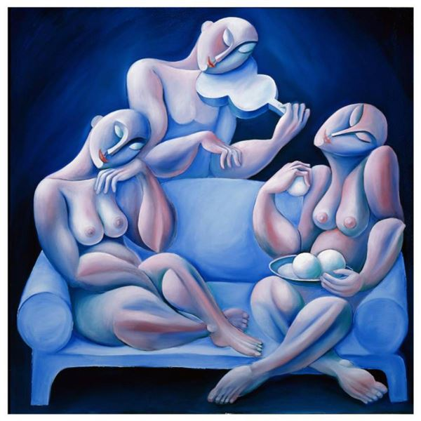 """Yuroz, """"The Light Blue Couch"""" Hand Signed Limited Edition Serigraph with Certificate of Authenticity"""