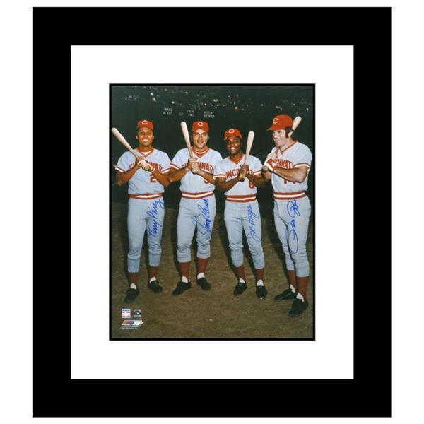 """""""The Big Four"""" Framed Photograph Autographed by the Big Red Machine's Johnny Bench, Tony Perez, Joe"""