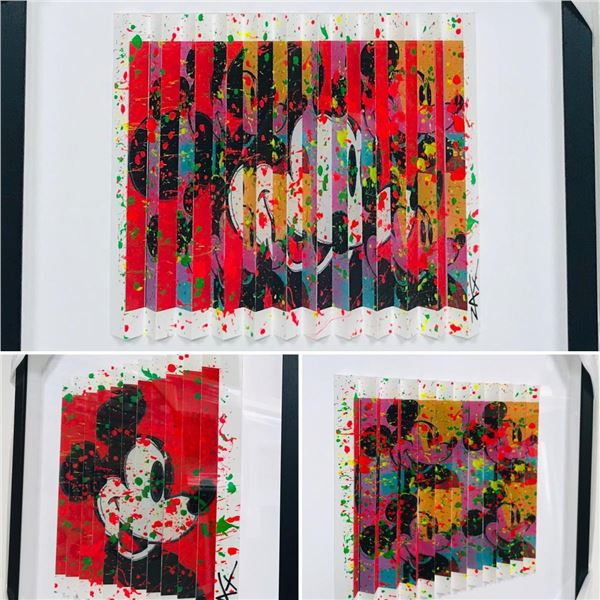 """E.M. Zax- One-of-a-kind 3D polymorph mixed media on paper """"Mickey"""""""