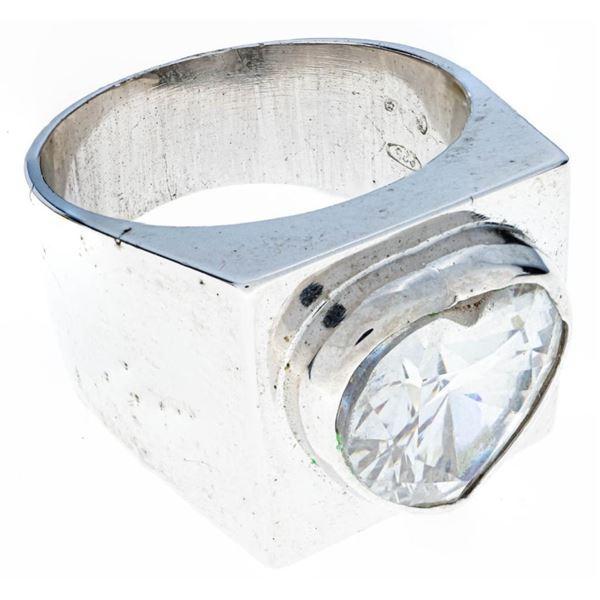 Estate Sterling Silver Ring, Bezel Set Heart CZ