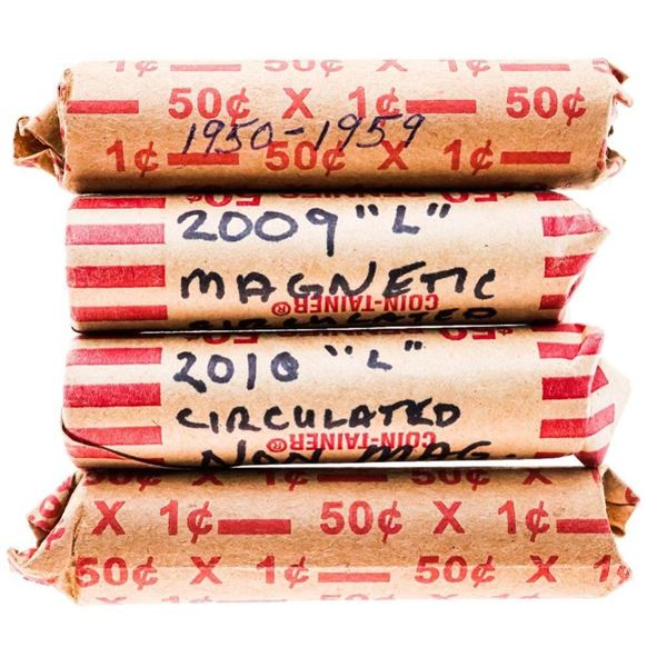 Group of 4 Rolls Canada & USA One Cent Coins - 195