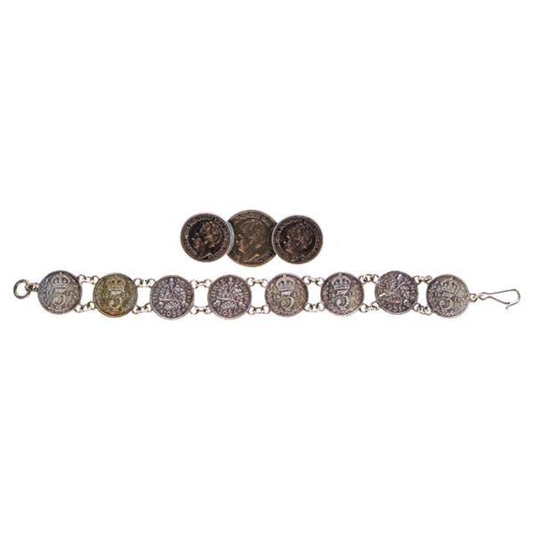 Coin Bracelet & Coin Pin - Silver 3 Pence Coins 19