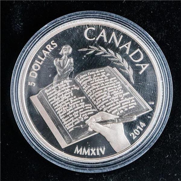 RCM 2014 Fine Pure Silver $5 Alice Munroe Coin
