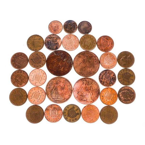 Lot/Bag Various Pennies of England
