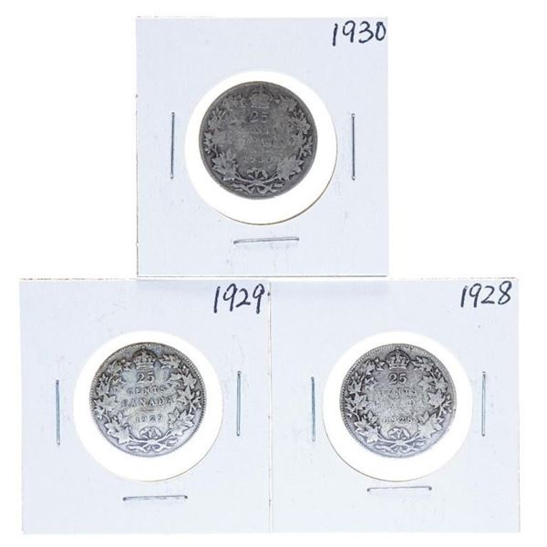 Lot 3 Canada Silver 25 cent Coins 1928-29-30