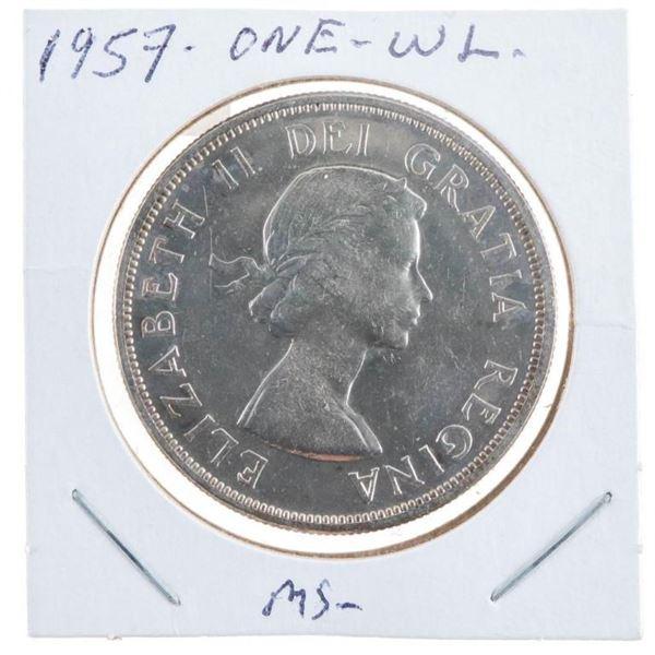 1957 Canada Silver Dollar Waterline MS