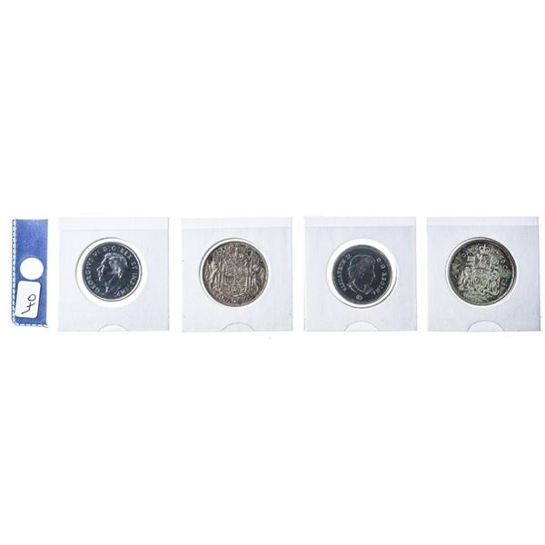 Group of 4 Canada Nickel & Silver 50 Cent Coins -