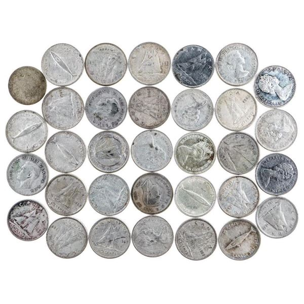 Lot of 33 Silver Canada Ten Cent Coins
