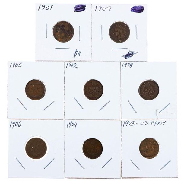 Group of 8 USA Indian Head Pennies 1901-1908