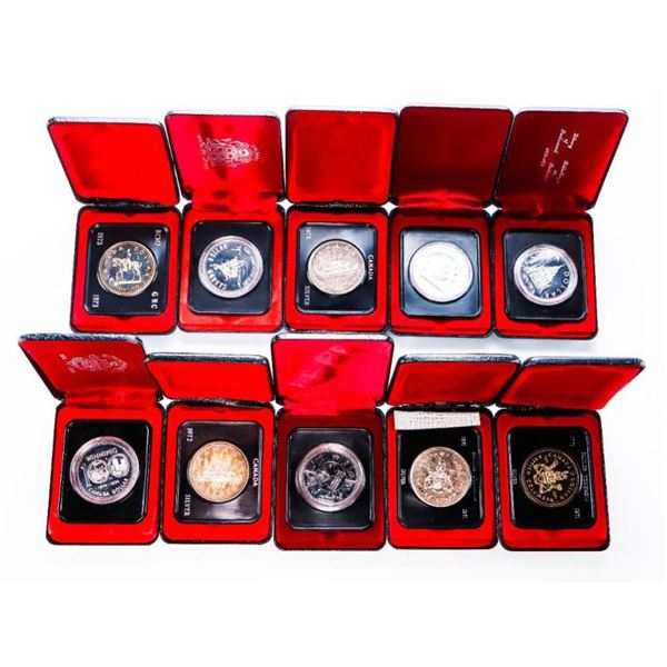 Group of 10 Canada Cased Silver Dollars