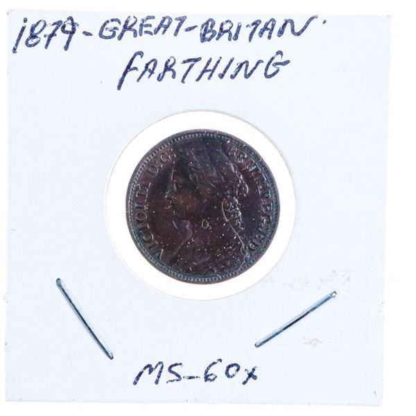 1879 GB Farthing Coin MS60