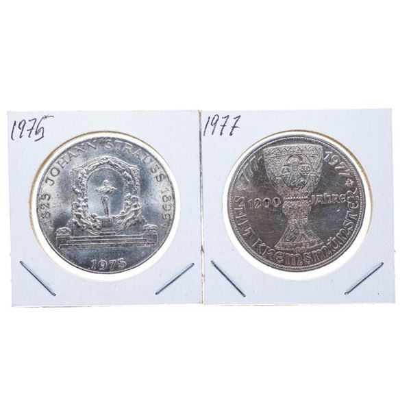 Lot 2 1975 & 1977 Silver 100 Shillings Coins