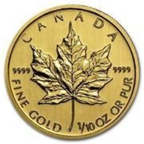 Canadian Gold Maple Leaf $5 Coin, .9999 Fine 24kt Pure Gold Sealed by RCM Investor & Collector's Cho