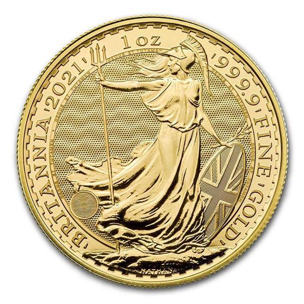 2021 Great Britain Gold Britannia .9999 Fine 24kt Pure Gold Coin, 1 oz. AGW $100GBP -31.1035 g (Allo
