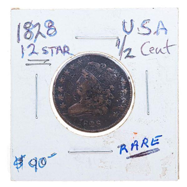 1828 USA 1/2 Cent -Rare 12 Star (25)