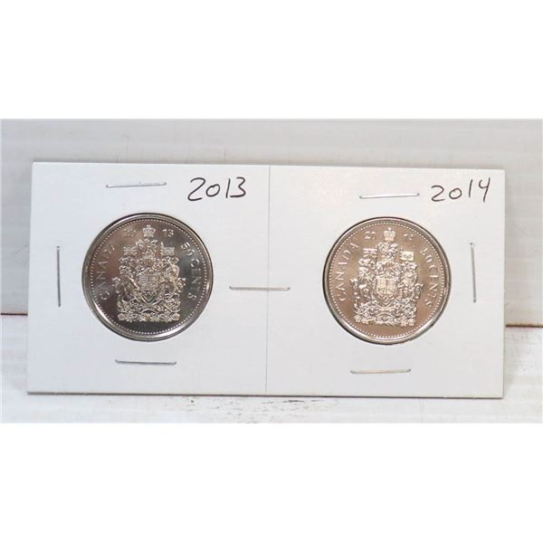 SET OF 2 CANADA 50 CENT COINS 2013/14