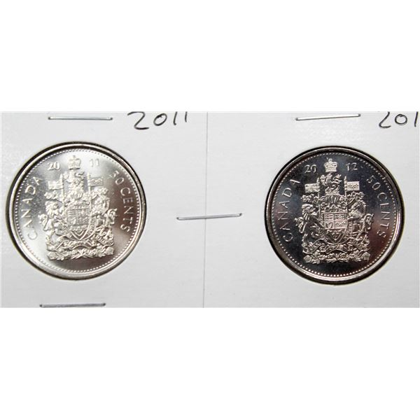 SET OF 2 CANADA 50 CENT COINS 2011/12