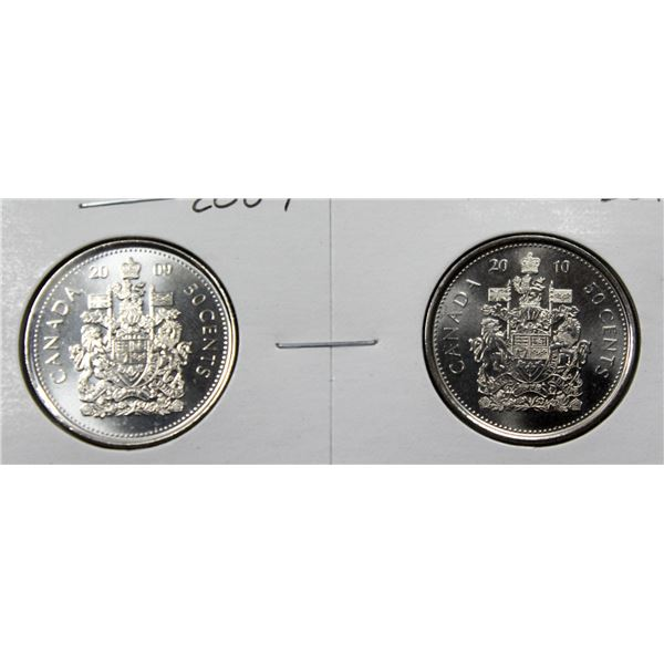 SET OF 2 CANADA 50 CENT COINS 2009/10